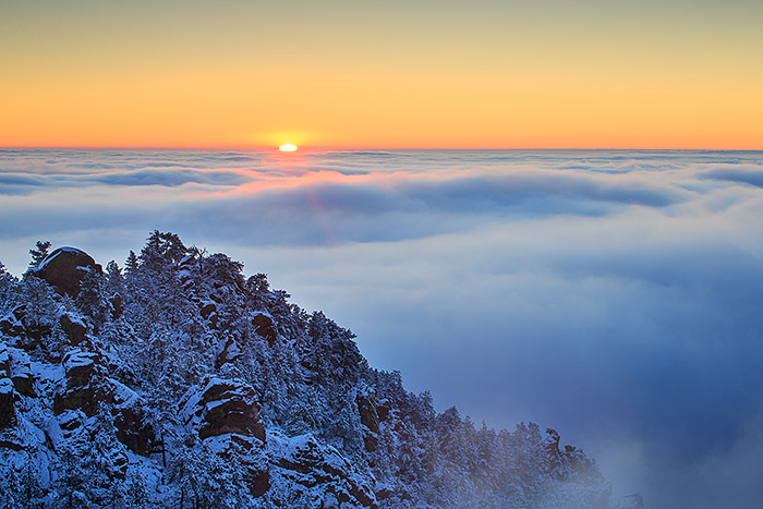 Crown Rock,Boulder,Colorado,Inversion,photograph,winter,Flagstaff Mountain,Eastern Plains,sunrise,clouds,open space, photo