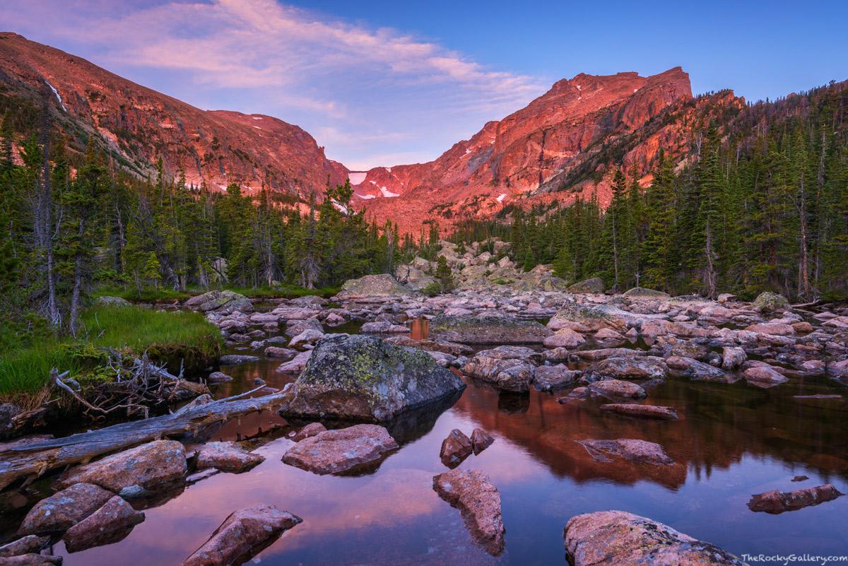 Hallett Peak,Chaos Canyon,Chaos Creek,Reflection,Sunrise,Landscape,Photography,Rocky Mountain National Park,Colorado,RMNP,Estes Park,Lake Haiyaha , photo