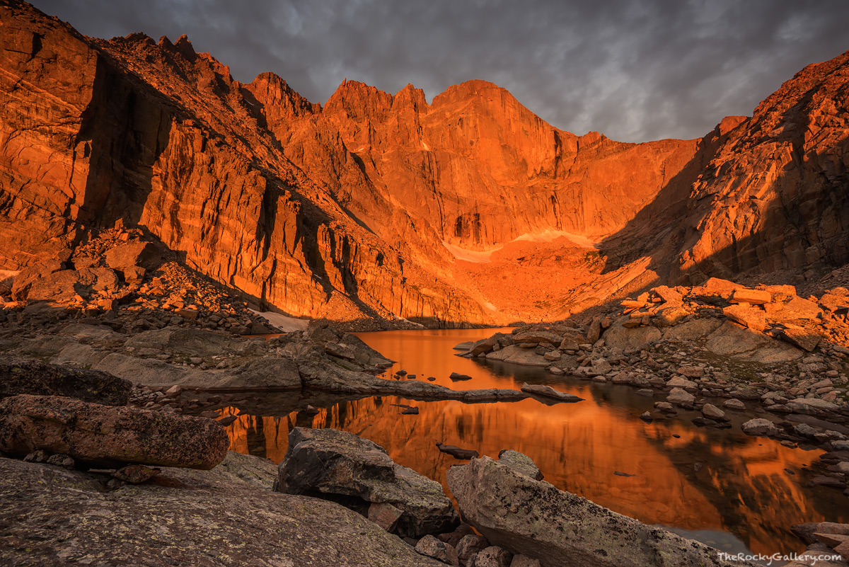 Chasm Lake,Longs Peak,Trailhead,14,259 ft,14er,Rocky Mountain National Park,Colorado,Rocky,RMNP,Estes Park,Landscape,Photography,Dramatic,hike,climb,sunrise,The Diamond,Stormy,August,Summer,icon,iconi, photo