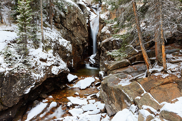 Chasm Falls,snow,Colorado,Rocky Mountain National Park,Fall river,old fall river road,stream, photo