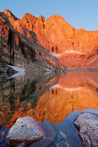 Longs Peak,Chasm Lake,Sunrise,reflection,Rocky Mountain National Park,Colorado,The Diamond, photo