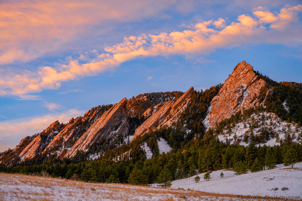 Chatauqua Park,Chatauqua Meadow,OSMP,The Flatirons,Baseline Road,Winter,January,Sunrise,Sunday,Landscape,Photography,Clouds,Snow,Winter,iconic , photo