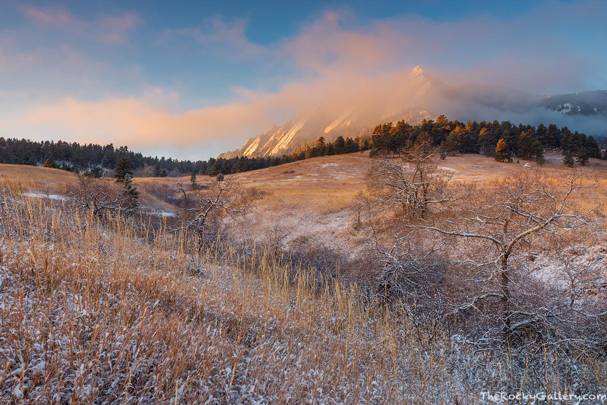 The Flatirons,Chautauqua Park,Chautauqua Meadow,Snow,November,Fog,Storm,Sunrise,Golden,Classic,Landscape,Photography,Boulder,OSMP,Open Space and Mountain Parks,majestic, photo