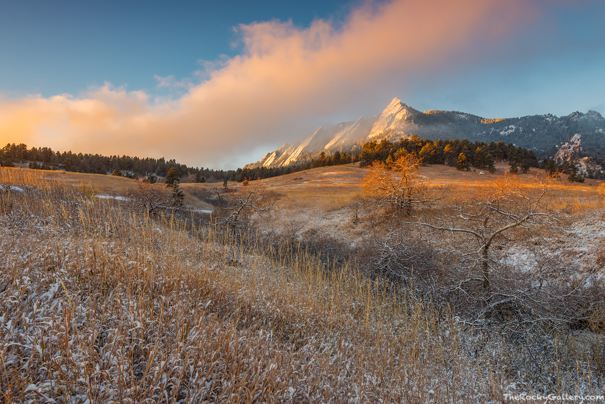Chautauqua Park,Meadow,OSMP,Open Space and Mountain Properties,Boulder,Colorado,November,Landscape,Photography,Sunrise,The Flatirons,Snow, photo