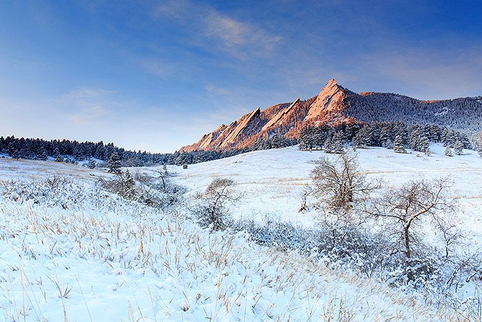 Boulder,Colorado,Open Space,Flatirons,Chautauqua Park,Meadow,winter,snow,trees, photo