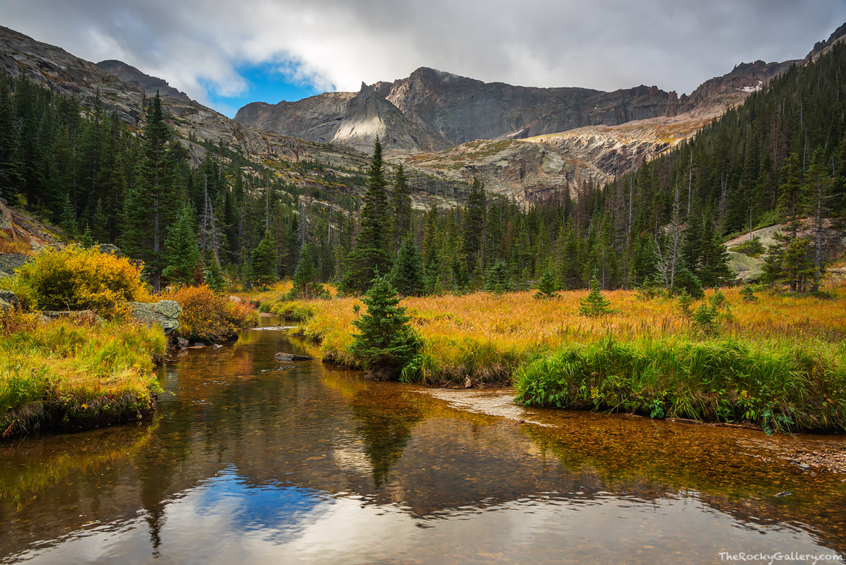 Chiefs Head Peak,The Spearhead,Glacier Creek,Glacier Gorge,Bear Lake Road,Glacier Basin,Autumn,Fall,Estes Park,Rocky Mountain National Park,Colorado,RMNP,Landscape,Photography,Stream,Black Lake, photo