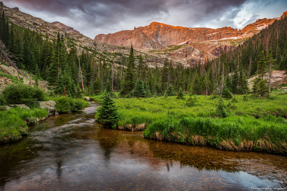 Glacier Creek, Chiefs Head Peak,RMNP,Estes Park,Rocky,Rocky Mountain National Park,Landscape,Photography,Bear Lake Road,Glacier Gorge,Sunrise,Black Lake,The Spearhead,July