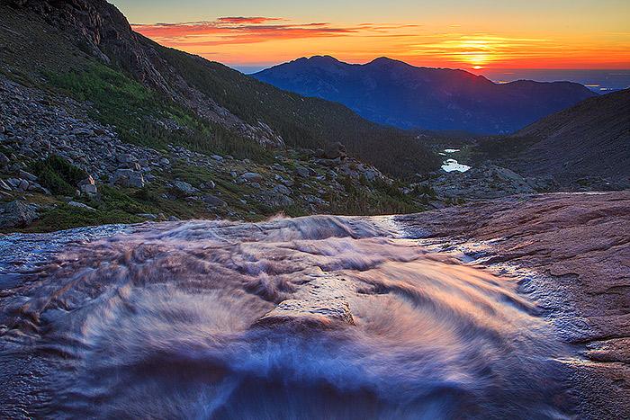 Columbine Falls,Longs Peak,Rocky Mountain National Park,Colorado,waterfalls,sunrise , photo