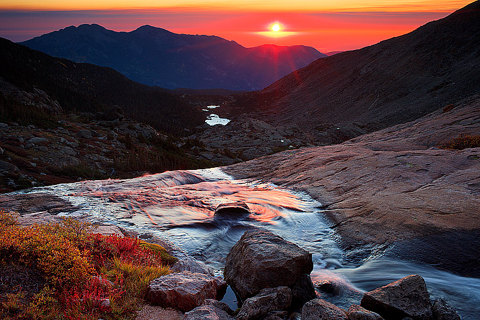 Columbine Falls,Longs Peak,Rocky Mountain National Park,Twin Sisters,Sunrise,tundra,stream,fall,chasm lake, photo