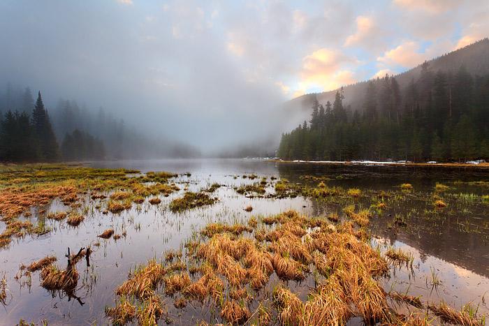 Rocky Mountain National Park, Colorado, Cub Lake, Sunrise, Fog, photo