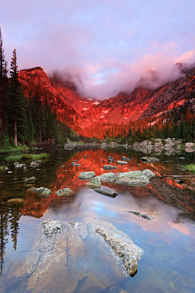 Rocky Mountain National Park, Colorado, Dream Lake, Hallet Peak, Sunrise, photo