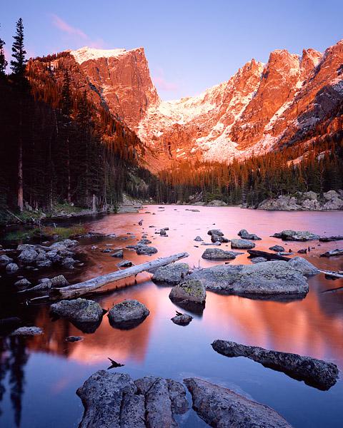 Rocky Mountain National Park, Dream Lake, Bear Lake, Colorado, Hallet Peak, Flattop Mountain, snow, photo