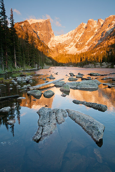 Rocky Mountain National Park, Dream Lake, Hallet Peak, Flattop Mountain, Snow, Estes Park, Colorado, photo
