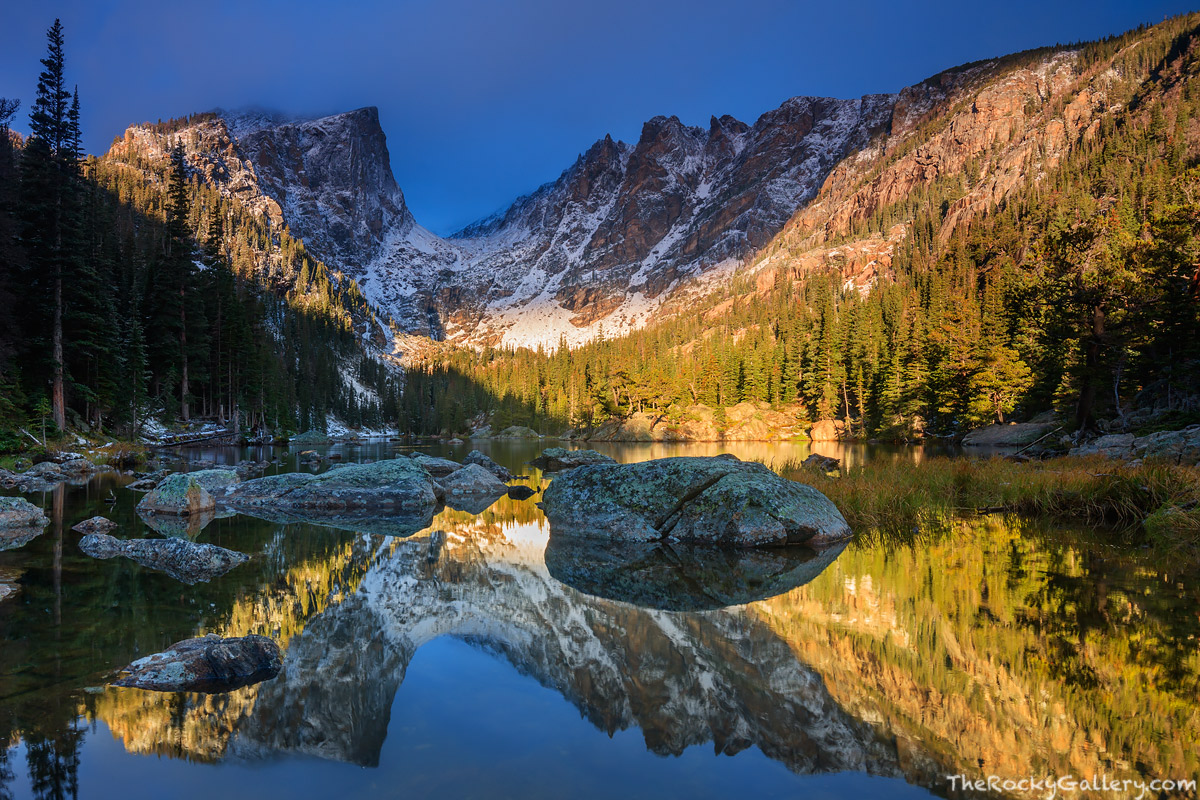 Dream Lake,Reflections,Landscape,Photography,Bear Lake,Trailhead,Estes Park,Icon,RMNP,Rocky Mountain National Park,Colorado,Hallett Peak,Flattop Mountain,Sunrise,October,Lake Haiyaha, photo