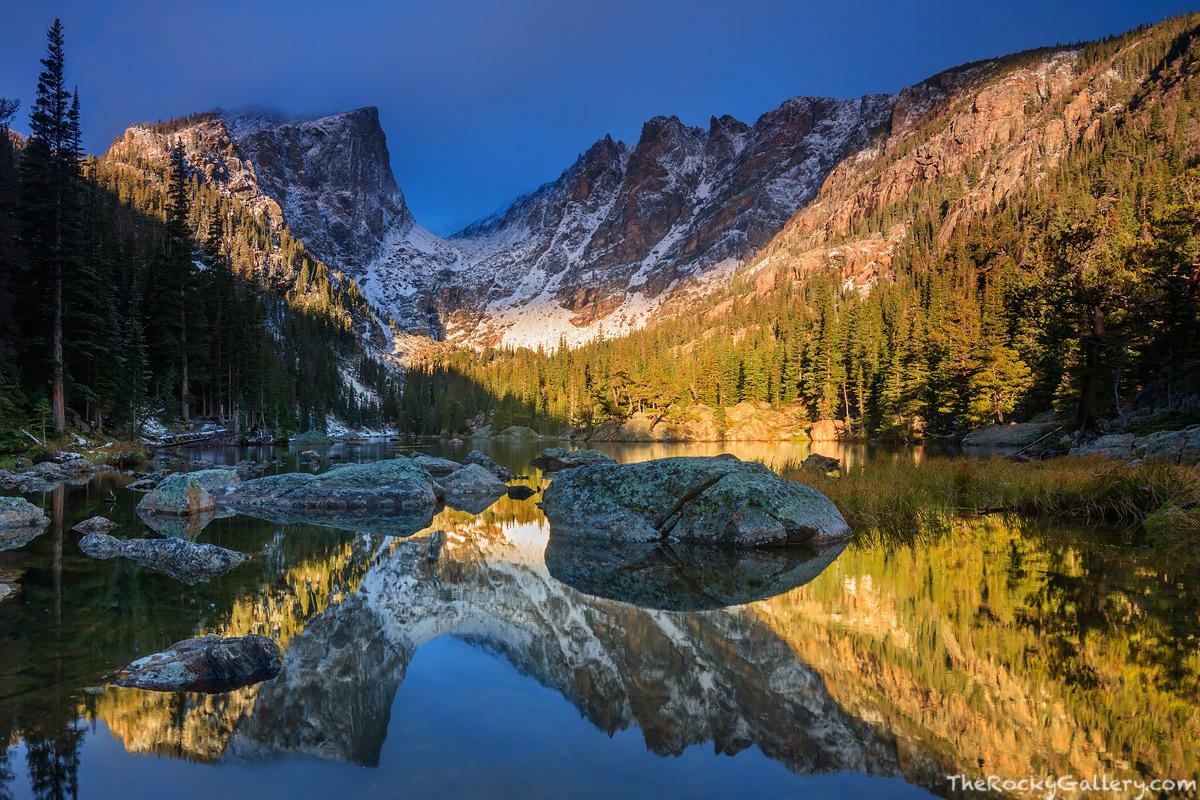 Dream Lake,Reflections,Landscape,Photography,Bear Lake,Trailhead,Estes Park,Icon,RMNP,Rocky Mountain National Park,Colorado,Hallett Peak,Flattop Mountain,Sunrise,October,Lake Haiyaha, photo