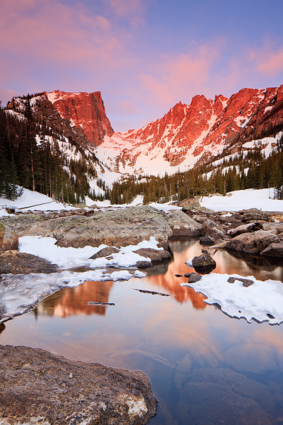 Rocky Mountain National Park, Colorado, Dream Lake, Hallet Peak, Flattop Mountain, Winter, Sunrise, , photo