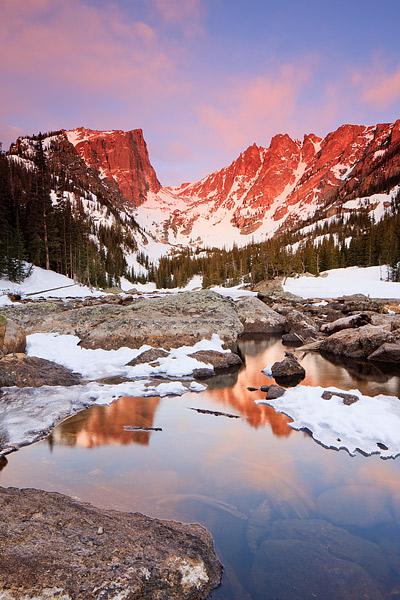 Rocky Mountain National Park, Colorado, Dream Lake, Hallet Peak, Flattop Mountain, Winter, Sunrise, , photo