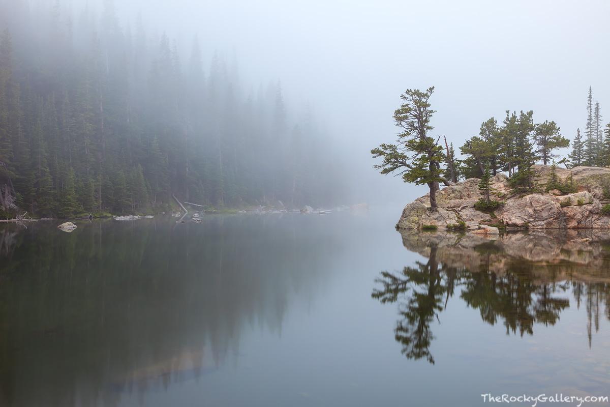 Rocky Mountain National Park, Colorado, Dream Lake, Hallett Peak, Flattop Mountain, Fog,RMNP,Estes Park,Bear Lake Trailhead,Iconic,Landscape,Photography,Trees,Moody,visitors, photo