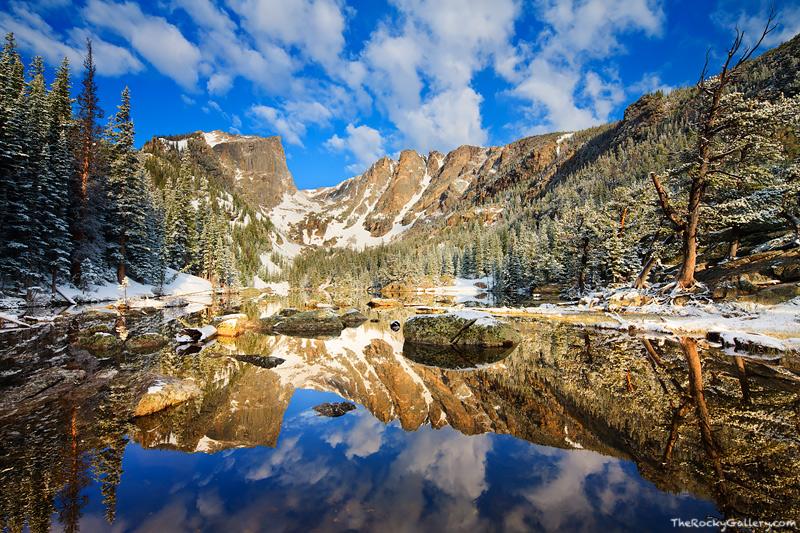 Rocky Mountain National Park, Colorado, Dream Lake, Hallett Peak, Front Range, Snow, Calm, reflection,landscape,photography,may,estes park,RMNP,Bear Lake Trailhead, photo