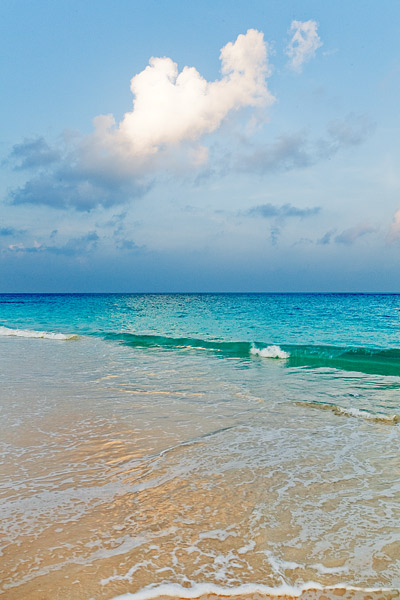 Sunset on the pink sands of Elbow Beach, Bermuda.