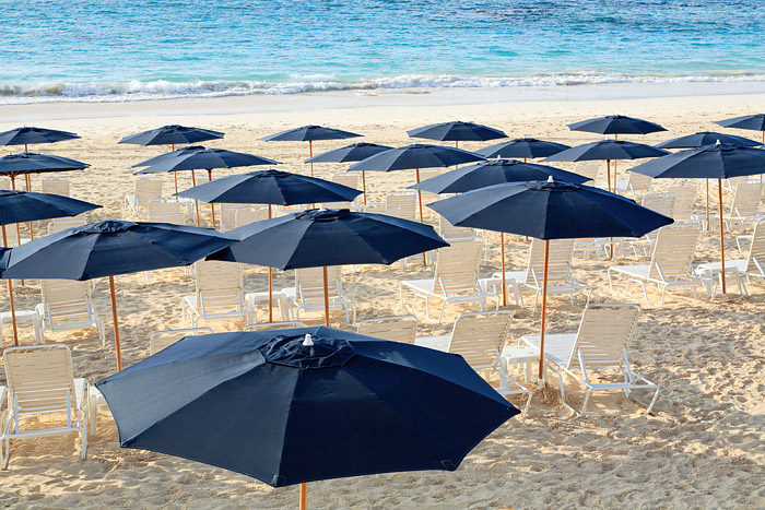 Umbrellas line the beach this morning at Elbow Beach, Bermuda.