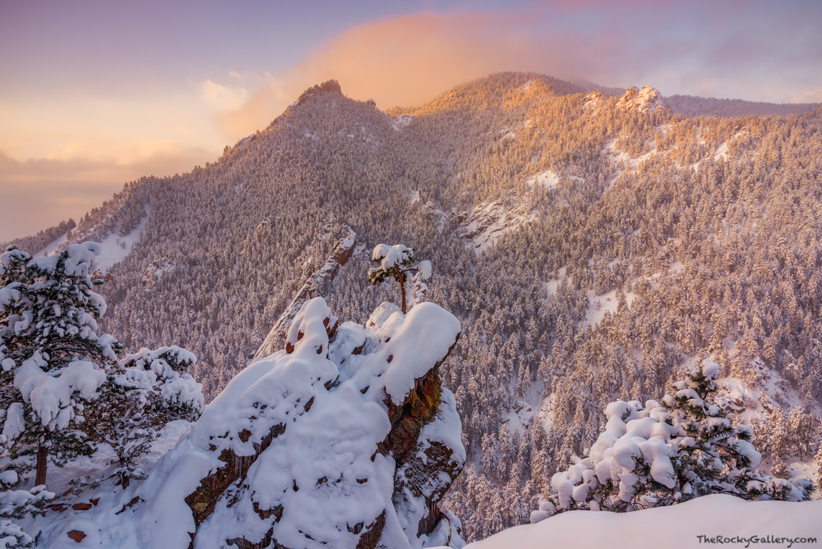 Boulder, Open Space and Mountain Parks,OSMP,Flatirons,Flagstaff Mountain,Colorado,Sunrise,Snow,Winter,March,Sunrise,Gregory Canyon,Crown Rock,Flagstaff Road,Green Mountain, photo