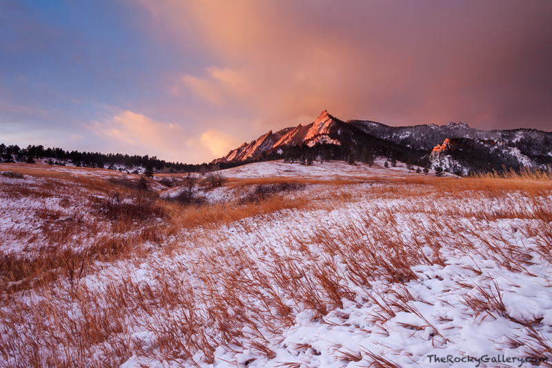 Flatirons, Boulder, Colorado, Chautaugua Park, Winter, Open Space, Sunrise, OSMP, photo