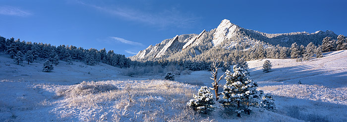 Fresh snow on the Flatirons from Chautaugua Meadows just outside of Boulder.