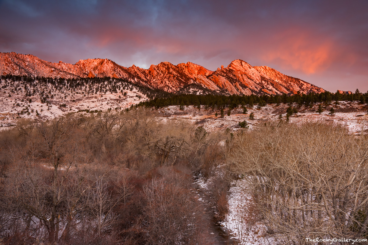 December,The Flatirons,Eldorado Springs,Colorado,Boulder,Open Space and Mountain Parks,Sunrise,OSMP,Sunrise,South Boulder Creek,Snow,Landscape,Photography, photo