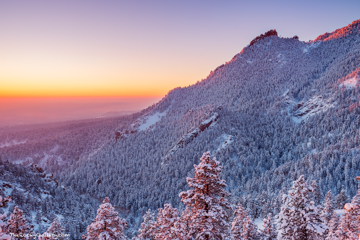 The Flatirons,Boulder,Colorado,Open Space and Mountain Parks,OSMP,Snow,Sunrise,Landscape,Photography,February,Gregory Canyon,Flagstaff Mountain,Flagstaff Road