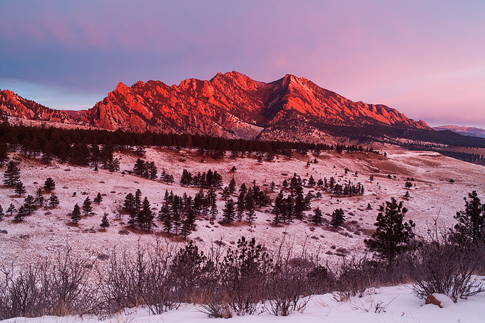 Boulder,Colorado,Flatirons,Open Space And Mountain Parks,Sunrise,New Year,snow, photo