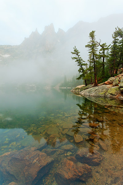 Emerald Lake,Flattop Mountain,Emerald Lake,Rocky Mountain National Park,Colorado,Fog, photo