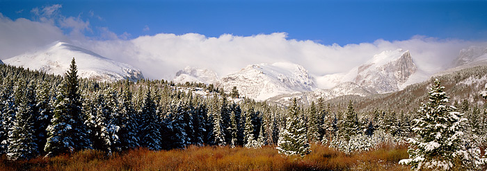 Fresh snow from last nights storm coats the peaks of Rocky Mountain National Park. This view from near the Storm Pass Trailhead...