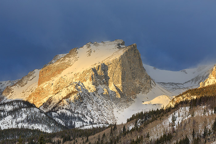Hallet Peak,Rocky Mountain National Park,Colorado,winds,winter,snow,clouds,continental divide, photo
