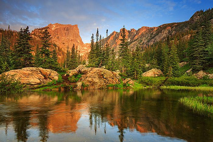 Hallet Peak,Flattop Mountain,Colorado,Rocky Mountain National Park,Dream Lake,Reflection, photo