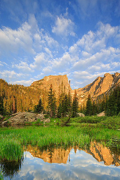 Hallet Peak,Rocky Mountain National Park,Colorado,Dream Lake,Sunrise,clouds,Rocky , photo