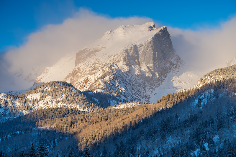 Hallett Peak,Snow,Winter,Bierstadt Moraine,Estes Park,RMNP,Rocky Mountain National Park,Colorado,Photography,Landscape,Silver, photo