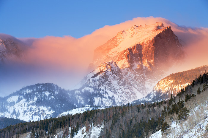 Rocky Mountain National Park, Colorado, Hallet Peak, Bierstadt Moraine, Winter, Sunrise, Storm, photo