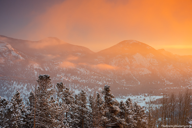 Horseshoe Park,Trail Ridge Road,McGregor Mountain,Dark Mountain,RMNP,Estes Park,Fall River,Rocky Mountain National Park,Colorado,Sunrise,Snow,Winter,March,Orange,Landscape,Photography,Trail Ridge Road, photo