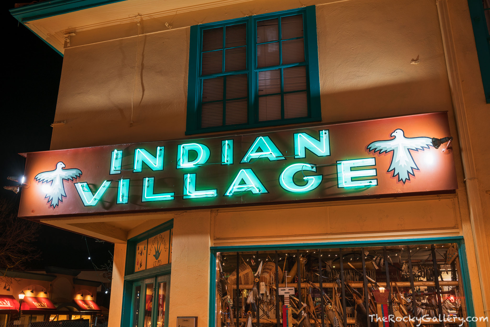 100 Elkhorn Ave,Millers Indian Village,Neon,Sign,Downtown,Estes Park,Stores,Photography,Landscape,Colorado,RMNP,Rocky Mountain National Park,January,Night,storefront,shopping , photo