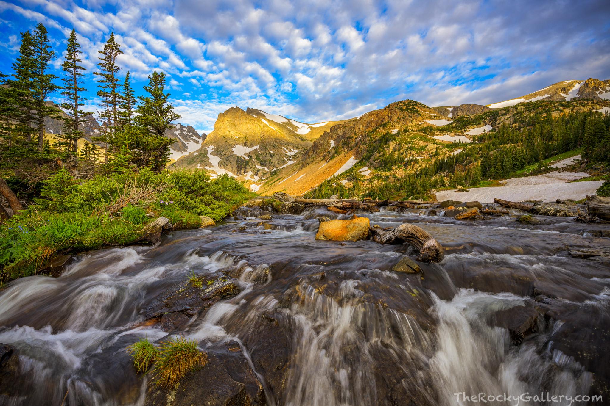 Brainard Lake Recreation Area,Ward,Colorado,Nederland,Shoshone Peak,Lake Isabelle,Indian Peaks Wilderness Area,Sunrise,Waterfall,Landscape,Photography, photo