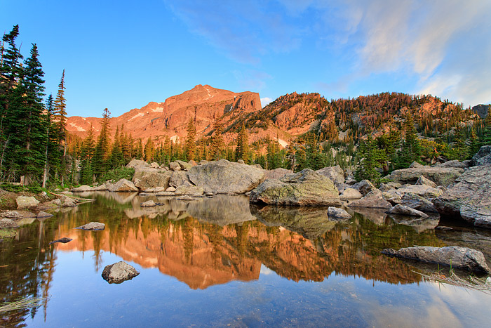 Lake Haiyaha,Rocky Mountain National Park, Colorado, Hallet Peak, Sunrise, Clouds, photo