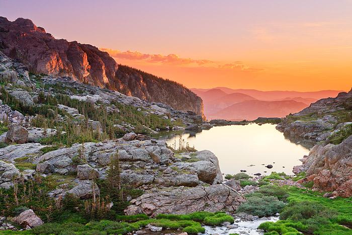 Rocky Mountain National Park,Lake of Glass,Sky Pond,Colorado,Sunrise,Sharkstooth,Petit Grepon,Glacier Gorge,Loch Vale, photo