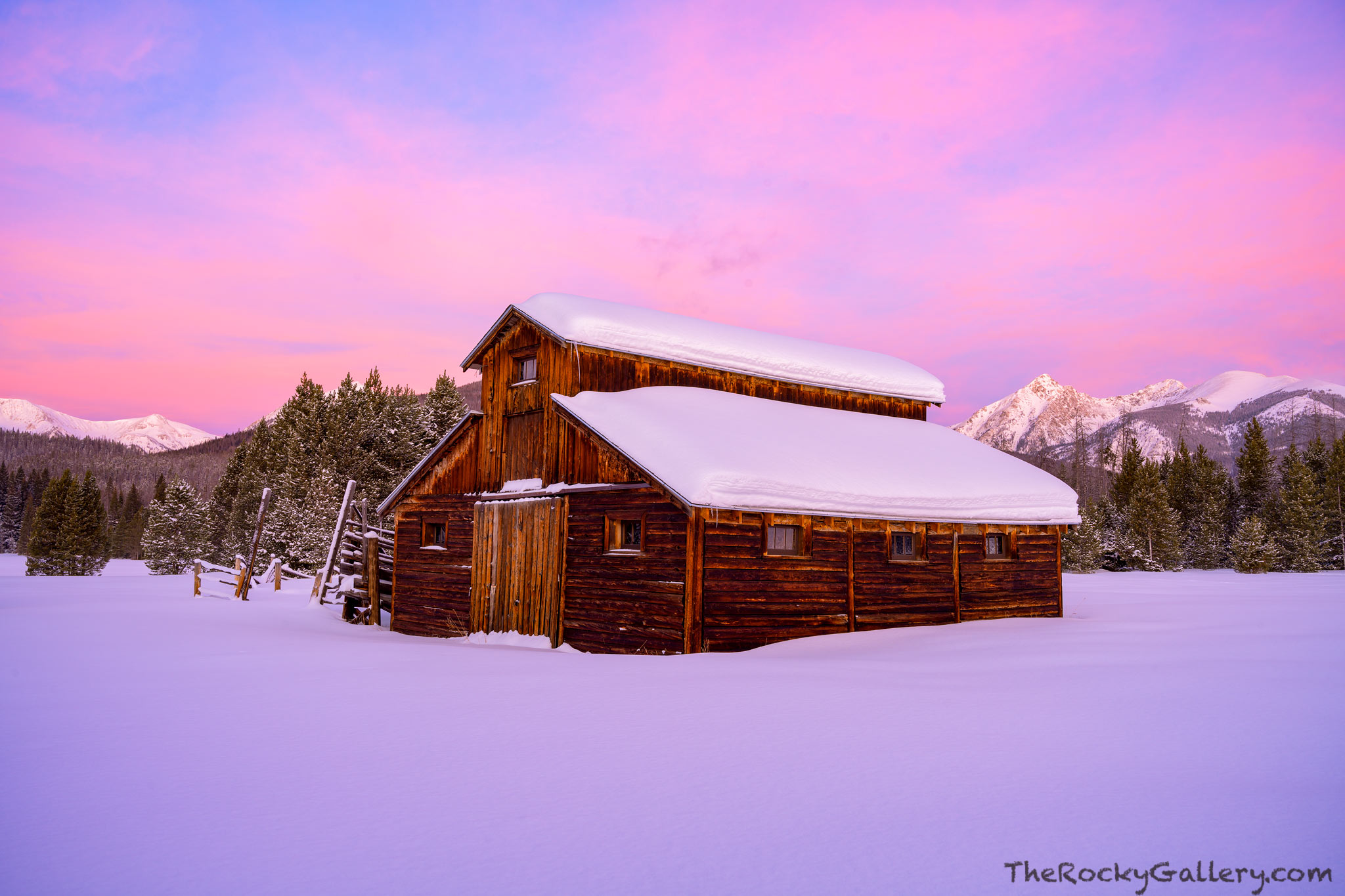 Trail River Ranch,Hand Of Man,Little Buckaroo Barn,Grand Lake,Trail Ridge Road,Kawuneeche Valley,January,Sunrise,Never Summer Mountains,Baker Mountain,Barn,Snow,pinks,RMNP,Landscape,Photography,Colora, photo