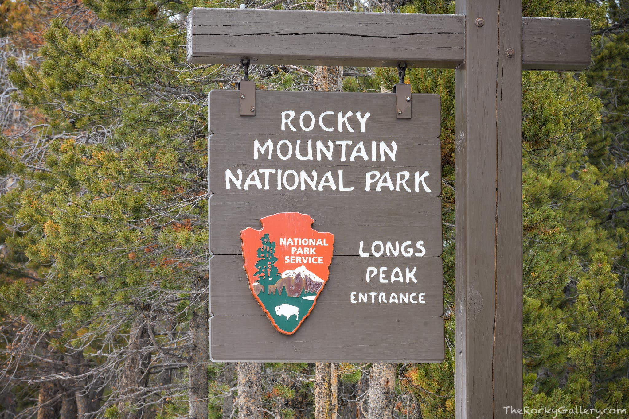 Longs Peak Entrance,Longs Peak,14,259ft,RMNP,Colorado,Estes Park,Rocky Mountain National Park,Entry,Sign,Hand of Man,January,Highway 7,Tahosa Valley,Boulder County,Larimer County,campground , photo