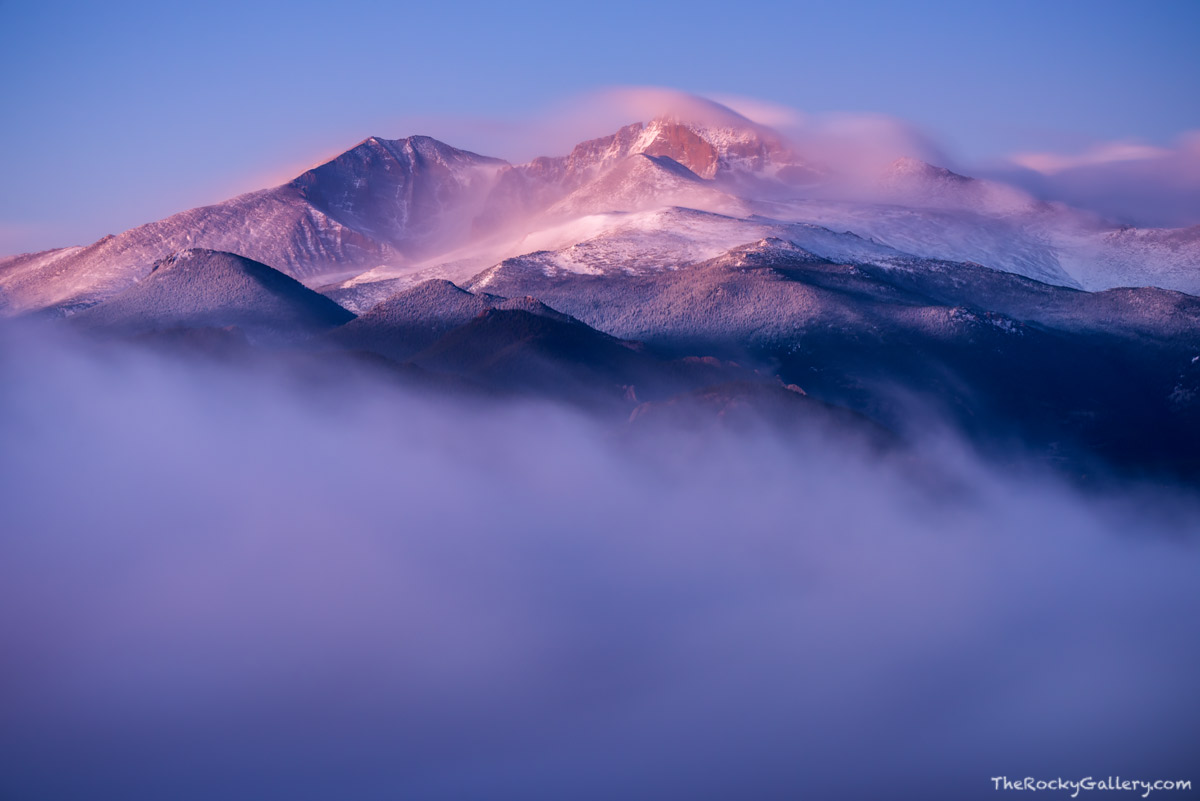 Longs Peak,Lumpy Ridge,Inversion,Estes Park,Glow,Sunrise,Fog,October,The Diamond,Mount Meeker,Snow,RMNP,Rocky Mountain National Park,Landscape,Photography,Estes Valley , photo