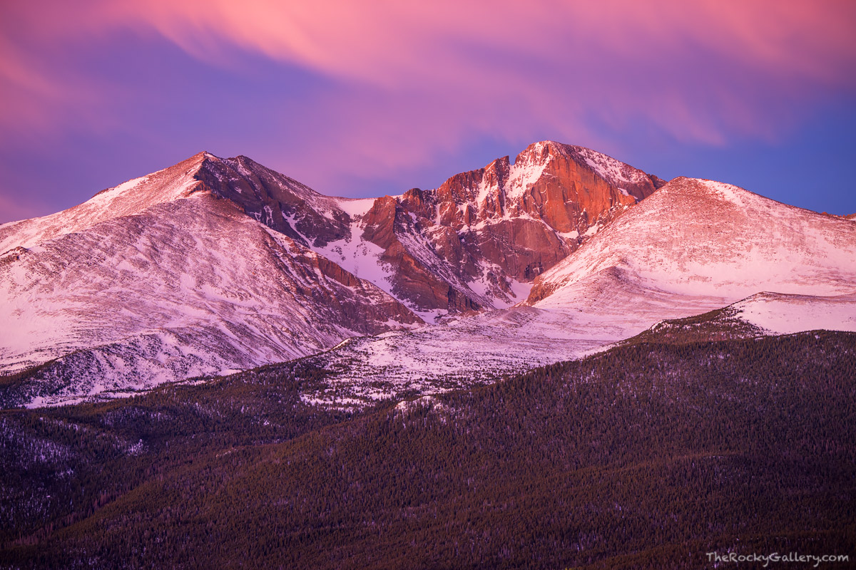 Longs Peak,Mount Meeker,Twin Sisters,Tahosa Valley,RMNP,Colorado,Sunrise,February,Winter,14er,Rocky Mountain National Park,Landscape,Photography,Estes Park,Highway 7,Sunrise,The Diamond, photo