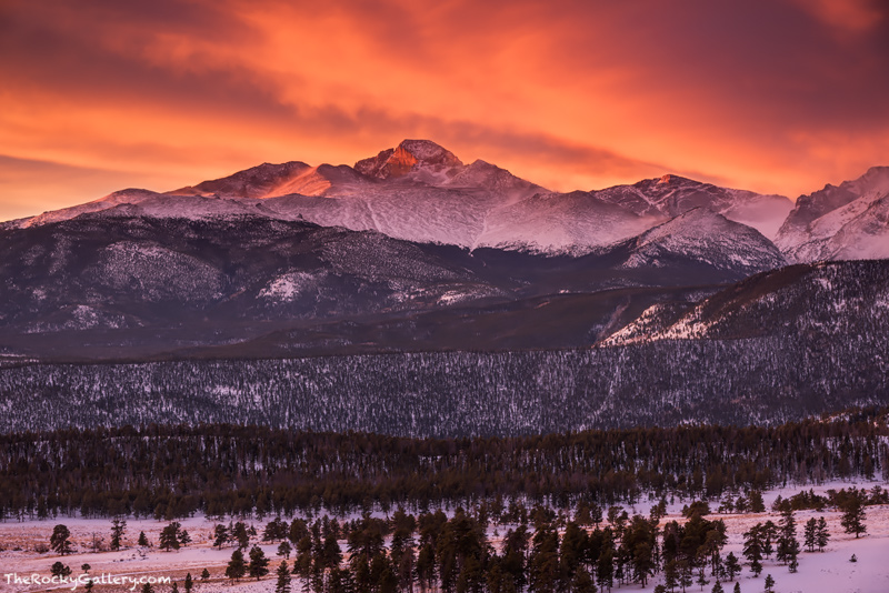 January,RMNP,Estes Park,Longs Peak,Sunrise,Landscape,Photography,Colorado,Rocky Mountain National Park,Sun,lenticular,clouds,orange,red,breathtaking,Upper Beaver Meadows,Trail Ridge Road,Winter,landsc, photo