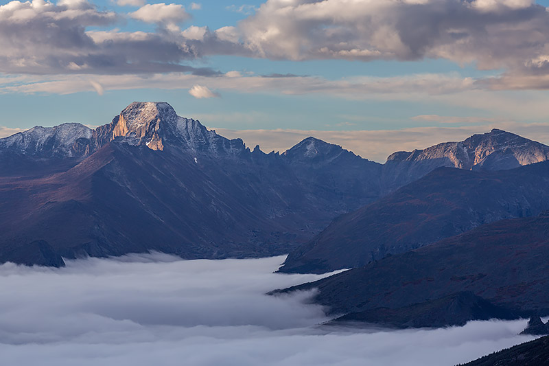 Longs Peak,Trail Ridge Road,Chiefs Head Peak,Forest Canyon,Glacier Gorge,Rocky Mountain National Park,RMNP,Colorado,Photography,Landscape,Fog,Inversion,sun, photo