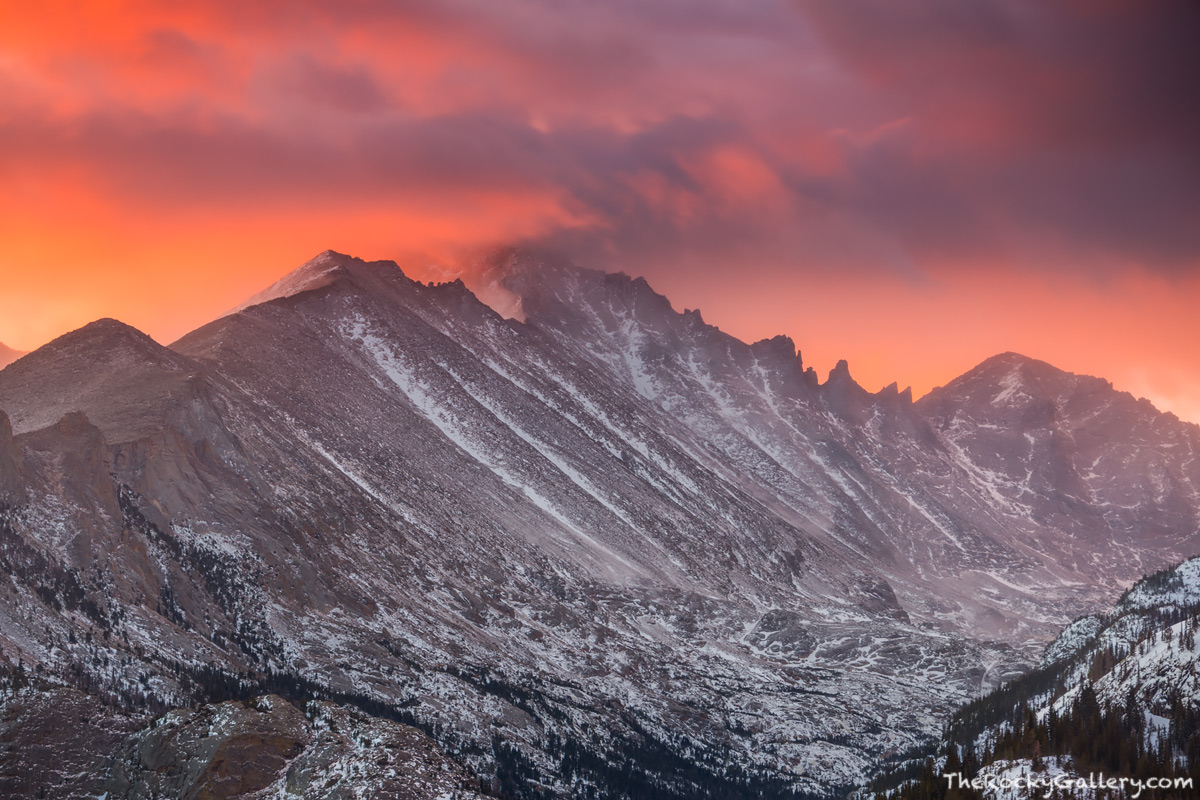 Bear Lake Trailhead,Glacier Gorge,Longs Peak,Pagoda Peak,Keyboard of the Winds,Sunrise,December,RMNP,Estes Park,Bear Lake Road,Rocky Mountain National Park,Colorado,Landscape,Photography,iconic, photo
